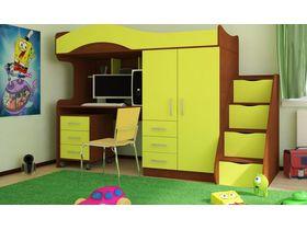 Кровать - чердак со шкафом и рабочей зоной