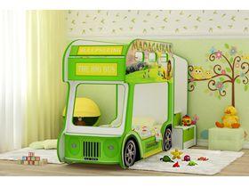 """Детская двухъярусная кровать автобус """"Мадагаскар Стандарт"""" в зеленом цвете со спальными местами 170*70"""