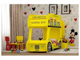 """Двухъярусная кровать в виде автобуса """"Школьный Автобус"""" в желтом цвете со спальными местами 170*70"""