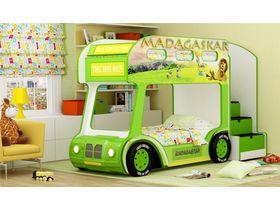 """Двухъярусная кровать """"3D Автобус Мадагаскар White Престиж"""""""