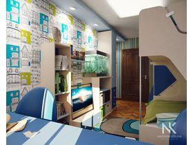 """Детская спальня для двух мальчиков подростков """"Blue city"""""""