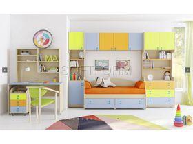 """Детская стенка с разноцветными фасадами """"МИА"""" (Комбинация 3)"""