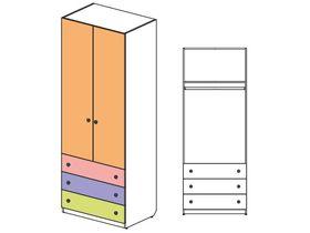 """Шкаф 2х дверный с 3 ящиками глубиной 60см """"Силуэт"""""""