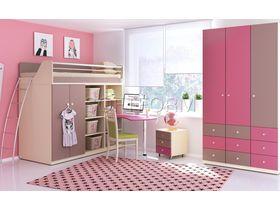 """Детская комната для девочки с кроватью-чердаком в розовом цвете """"Силуэт"""""""