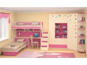 """Компактная мебель для детской комнаты в розовом цвете """"Силуэт"""" для двоих детей (Комбинация 2)"""