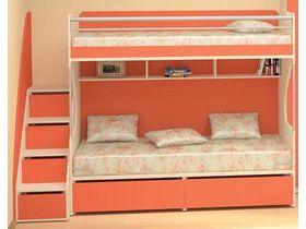 """Детская двухъярусная кровать в оранжевом цвете """"Силуэт"""""""
