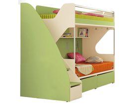 """Кровать двухъярусная со ступенями-тумбой под размер спального места 200х90 """"Силуэт"""""""
