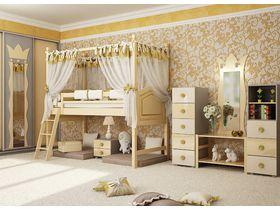 """Детская комната для девочек """"Фреска золотая"""" с кроватями из массива бука"""
