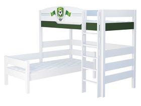 """Детская двухъярусная угловая кровать из массива бука """"Футбол"""""""