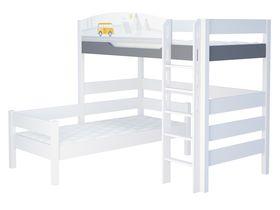"""Детская двухъярусная угловая кровать из массива бука """"ГЕО"""""""