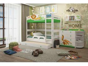 """Светлая двухъярусная кровать для детей 180 см из массива бука """"Джунгли зовут"""""""
