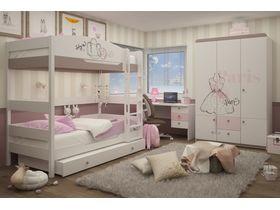 """Двухъярусная кровать 180 см в комнату для девочек из массива бука """"Парижанка"""""""