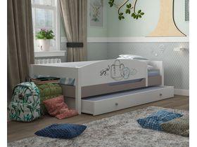 """Кровать c бортом и ящиком из массива бука в спальню для девочки """"Парижанка"""""""