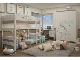 """Светлая кровать чердак из массива бука в детскую на высоту 160 см """"Парижанка"""""""