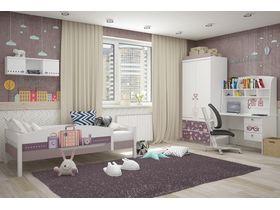 """Детская комната для девочек """"Париж"""" в белом цвете с кроватями из массива бука"""