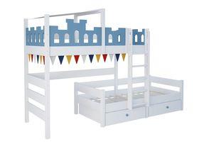"""Детская двухъярусная кровать со сдвигом """"Замок"""" из массива бука"""