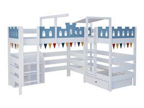 """Детская двухъярусная угловая кровать с игровой зоной для троих детей """"Замок"""" из массива бука"""