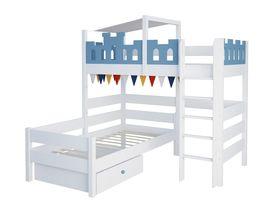 """Детская угловая двухъярусная кровать """"Замок"""" из массива бука"""