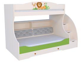 """Детская двухъярусная кровать """"Джунгли зовут"""" с комодом, тумбой - ступеньками и мягкой спинкой на нижнем ярусе"""