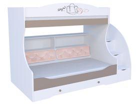 """Детская двухъярусная кровать """"Парижанка розовая"""" с комодом, тумбой - ступеньками и мягкой спинкой на нижнем ярусе"""