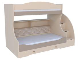 """Детская двухъярусная кровать """"Сиена"""" с комодом, тумбой - ступеньками и мягкой спинкой на нижнем ярусе"""