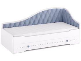 Кровать-диван угловой под матрас 80*190 с мягкой спинкой (Цвет обивки на выбор)