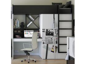 Детская кровать-чердак с рабочей зоной и шкафом Young Users (Композиция 2)