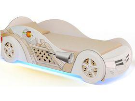 """Кровать машинка в белом цвете """"Мишки"""" с подсветкой и ящиком для белья"""