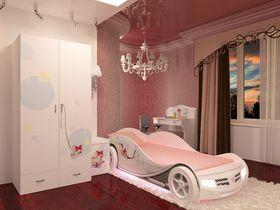 """Детская комната """"Молли"""" с кроватью машиной для девочек"""