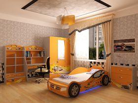 """Детская комната """"Champion Оранжевая"""" с кроватью машиной"""