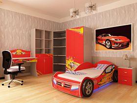 """Детская комната """"Champion Красная"""" с кроватью машиной"""