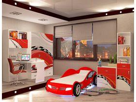 """Детская комната """"La-Man красная"""" с кроватью машиной"""