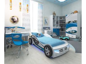 """Детская комната """"La-Man"""" в белом цвете с кроватью машиной"""