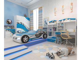 """Детская комната """"La-Man голубая"""" с кроватью машиной"""
