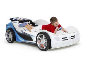 """Детская кровать машина для мальчика """"La-Man 2 c синим рисунком"""""""