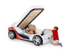 """Детская кроватка машинка """"La-Man 2 c красным рисунком и объемными колесами"""