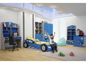 """Детская комната """"Формула синяя"""" с кроватью машиной"""
