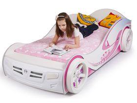 """Кровать машина для девочки """"Princess"""" в белом цвете с розовыми принтами"""
