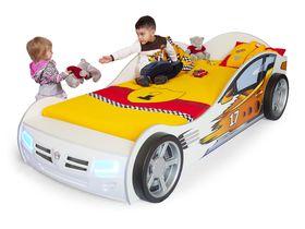 """Кровать машина для мальчика """"Чемпион белая"""" c ящиком для белья"""