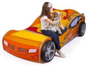 """Детская кровать в виде машины """"Чемпион"""" в оранжевом цвете с подсветкой дна"""