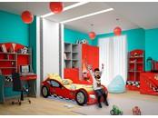 """Детская комната """"Формула красная"""" с кроватью машиной"""