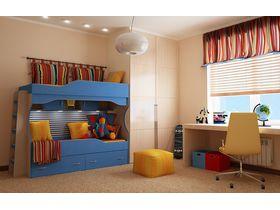 """Комната для двоих детей подростков """"ЧИБИС"""" с двухъярусной кроватью"""
